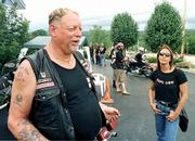 "Hells Angels member Don ""Ding"" Gannon talks about his experience as a tourist in Branson, Mo., Friday. Gannon and his wife, Lori, are in Branson for the Angels&squot; 2001 Annual Run."