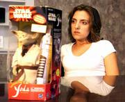 Jodee Berry of Panama City, Fla., is suing the Hooters restaurant chain for breach of contract and false representation. Berry, a former Hooters waitress, said she was promised a new Toyota for winning a beer sales contest. Instead of a car, though, she was awarded a toy Yoda, right, the little green guy from Star Wars.