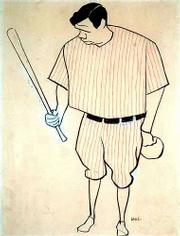 "This caricature of Babe Ruth by William Auerbach is among the drawings in a show at the New York Public Library titled ""Celebrity Caricature in America."" The show is on exhibit through Aug. 31."