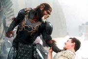 """In the heat of battle, Thade (Tim Roth, left), the ape military leader, tries to subdue Leo (Mark Wahlberg) in the 20th Century Fox summer release """"Planet of the Apes."""""""