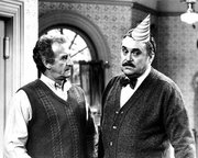 "Bob Uecker, left, and Christopher Hewett appear in scene from the ABC comedy series ""Mr. Belvedere."" Hewett died Friday."