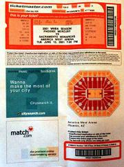Print-at-home tickets like the one at left are gaining favor with sports venues and movie theaters. The process used at America West Arena in Phoenix is the work of Ticketmaster's research and development facility. The arena is a testing ground for the high-tech ticketing process.