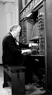 James Higdon, Kansas University organ professor, performs a recital on the organ in the Bales Organ Recital Hall.