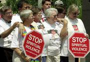 Pro-gay demonstrators protest this week outside the Evangelical Lutheran Church in America's national assembly meeting hall in Indianapolis. The nation's fifth-largest Protestant denomination decided Monday to undertake a major study on homosexuality including looking at whether to bless same-sex couples and ordain actively gay and lesbian clergy.