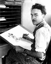 Ub Iwerks draws a sketch of Mickey Mouse while collaborating with Walt Disney in the 1930s.