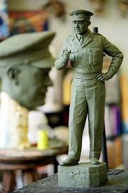 A clay maquette of Dwight D. Eisenhower is the model for a 7 1/2 foot bronze sculpture by Lawrence artist Jim Brothers. Brothers will make the sculpture of the former president and five-star general for the U.S. Capitol.