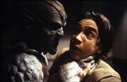 """Justin Long, right, is threatened by a ghoulish figure know as the Creeper (Jonathan Breck) in the gore-flick """"Jeepers Creepers."""""""