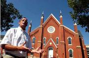 The Rev. Peter Luckey of Plymouth Congregational Church is on a three-month sabbatical to study the declining number of young people entering the Protestant ministry. Luckey is shown here outside Plymouth Congregational Church, 925 Vt., where he's been pastor for six years.