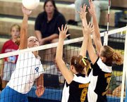 Kansas sophomore Abbie Jacobson, left, spikes the ball against Wichita State. KU won in straight sets.