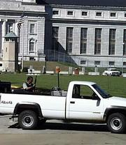 Security was tightened Tuesday afternoon at the federal penitentiary in Leavenworth. Security guards with shotguns were placed at every entrance leading to the penitentiary.
