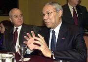 Ecuadorean Chancellor Heinz Moeller, left, listens to U.S. Secretary of State Colin Powell during a meeting in Lima. Powell on Monday joined 33 foreign ministers and ambassadors for a two-day special session.
