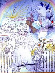 """The Magic Gate,"" a colored pencil drawing by Elizabeth ""Grandma"" Layton, shows the elderly artist leaving this world for the hereafter. Layton died in 1993 at the age of 83."