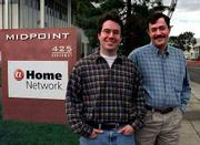 Like many other high-tech companies, Excite@Home has become a victim of misguided efforts and sky-high aspirations. The company's stock has plunged from more than $100 a share to less than 20 cents. Excite Inc. founder Joe Kraus, left, and At Home Corp. founder Milo Medin are shown in front of At Home headquarters in this 1999 file photo.