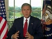 In an image taken from video, U.S. President George W. Bush addresses the nation from the White House, announcing that the United States had launched military actions in Afghanistan.