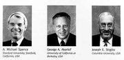 The 2001 Nobel Prize winners in Economic Sciences are, from left, A. Michael Spence, Stanford University, George A. Akerlof, University of California at Berkeley, and Joseph E. Stiglitz, Columbia University.