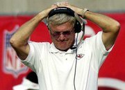 Kansas City coach Dick Vermeil shows his frustration during his team's loss to Arizona. The Cardinals defeated the Chiefs, 24-16, on Sunday at Sun Devil Stadium in Tempe, Ariz.