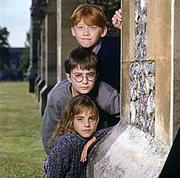 "Rupert Grint, top, Daniel Radcliffe and Emma Watson portray the characters Ron Weasley, Harry Potter and Hermoine Granger in the film ""Harry Potter and the Sorcerer&squot;s Stone."""