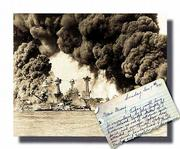 The battleships USS West Virginia and and USS Tennessee, seen after the Japanese attack on Pearl Harbor Dec. 7, 1941, provide a backdrop for the opening page of a wartime diary kept by Edna Sponholtz for her then 4-year-old son, Lloyd. Sixty years older and now a professor of history at Kansas University, Lloyd Sponholtz uses the diary in his World War II classes.