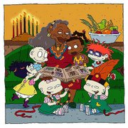 "Aunt T., center, tells stories of the Charmichael family and the traditions of Kwanzaa to, clockwise from center right, her niece, Susie, and her friends, Chuckie, Phil, Lil, Kimmi and Tommy, in this scene from the Nickelodeon animated series ""Rugrats."" The episode debuts Tuesday evening."