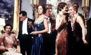 "Cast members of the USA film ""Gosford Park"" include, from left, Natasha Wightman, Tom Hollander, Claudie Blakley, Michael Gambon, Geraldine Somerville and Kristin Scott Thomas. The upcoming movie, directed by Robert Altman, features a cast of 30."