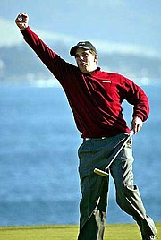 Matt Gogel celebrates his birdie putt on the 18th hole. Gogel shot a 69 on Sunday at Pebble Beach, Calif., to win the Pebble Beach National Pro-Am. It was the former Kansas University golfer's first PGA Tour victory.