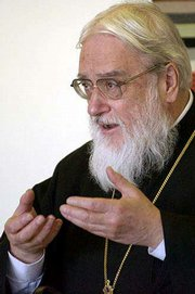 """The Rev. Kallistos Ware, an internationally recognized leader in the environmental movement, speaks on """"God and the Earth: Ancient Christian Thought and Environment"""" at the Ecumenical Christian Ministry Building. Ware, a Spalding Lecturer in Eastern Orthodox studies at Oxford University, also spoke Monday evening at Kansas University."""
