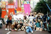 The 2000 Lawrence delegation enjoys the annual Tanabata festival in Hiratsuka, Japan. The festival draws more than 1.5 million people and is one of the largest in Japan.