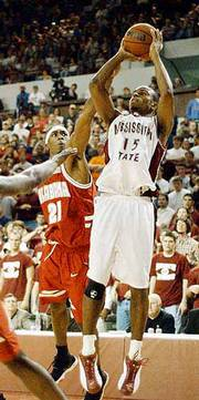 Mississippi state guard timmy bowers (15) shoots a three-pointer over Alabama's Rod Gizzard. Mississippi State knocked off No. 5 Alabama, 76-62, on Saturday at Starkville, Miss.