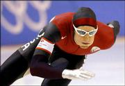American speedskater Joey Cheek races to a bronze in the 1,000 meters.