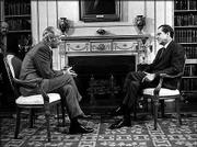 ABC commentator Howard K. Smith, left, and President Richard Nixon are shown in the White House Library in this March 22, 1971, file photo. In 1969, Smith conducted the first television interview of a sitting president Nixon.