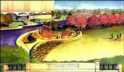 An artist's illustration shows what the new Kansas University entrance at 15th and Iowa streets will look like when construction is completed. Robert and Elizabeth Malott, Kenilworth, Ill., have pledged $1 million toward campus landscaping, including the entrance, in memory of Robert's father, Deane Malott, former KU chancellor.