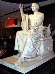 Horatio Greenough's statue of George Washington sits in the National Museum of American History in Washington. The statue, modeled after the classical statue of the Greek god Zeus, raised eyebrows in Washington in 1841 with some people offended by a half-naked Washington. Others saw the statue as comical.