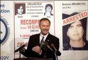 U.S. Drug Enforcement Administrator Asa Hutchinson explains at a news conference in Washington details of the arrest of drug trafficker Benjamin Arellano Felix. Soldiers raided a house in central Mexico early Saturday and captured Felix, alleged leader of Mexico's bloodiest drug cartel.