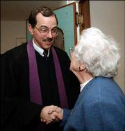 It took three years for First Presbyterian Church of Haddonfield, N.J., to find a new pastor. This is the first Easter at the church for the Rev. William Getman, shown here greeting Dorothy Westermaier after a recent service.