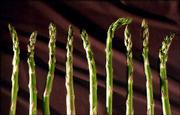 When choosing asparagus, look for bright green spears with tightly closed, compact tips. Thicker spears are just as tender as thinner ones.
