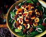 Banana and Spinach Salad features roasted pecans and a cranberry-raspberry vinaigrette. See page 2D for the recipe.