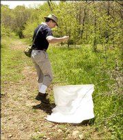 Greg Burg, an entomologist at Kansas University, gathers tick in Dad Perry Park. He dragged a corduroy cloth behind him to collect the ticks Thursday. Burg flipped the cloth over every 10 feet to count the ticks and gather specimens. He hopes his research will determine how the environment affects the tick population.