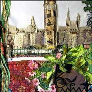 Each F.A.N. Club member created a panel using images of Ottawa, Canada, that will be assembled into a larger artwork for the international show. In a similar manner, the Canadian artists used images of Lawrence. This panel is by Nan Renbarger of Lawrence.