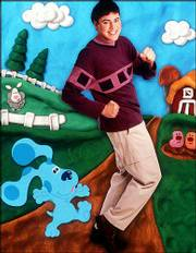 "Actor Donovan Patton appears with Blue, his animated co-star on the set of Nickelodeon&squot;s ""Blue&squot;s Clues,"" in this computer-generated composite publicity image. Patton today is replacing Steve Burns, the show&squot;s host since its debut in December 1996."