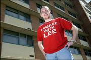"""LEE BICKERSTAFF, an Emporia sophomore at Kansas University and resident adviser at Lewis Hall, is the faithful one behind the """"I Agree With Lee"""" campaign to promote Christian beliefs. T-shirts bearing the slogan popped up on campus in mid-April, bringing attention to religious issues."""