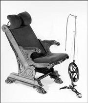 This 1880 dental chair that was made in London sold last year at a German auction for $8,200. It is a wooden chair with a floor-standing drill.