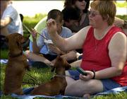 Cheryl Lowrance, Lawrence, feeds treats to her dogs Spritz and Madison at Art in the Park. Booths featured artists' work for sale Sunday at South Park.