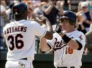 Baltimore's Jeff Conine, right, celebrates his two-run homer with teammate Gary Matthews Jr. Conine's blast tied the game in the sixth inning Sunday at Baltimore, and the Orioles went on to beat Kansas City 3-2.
