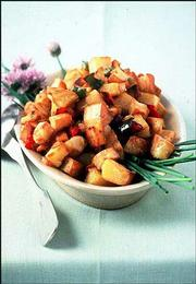 Chunky Ranch-Style Home Fries calls for few ingredients, mostly kitchen staples. Serve the fries with scrambled eggs or other eggs, and a tossed green salad or sliced tomatoes, for an easy, tasty meal.