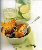 Saturday Summer Strata is made from hearty bread cut into slices, layered with cubes of cheese, pesto, prosciutto and tomatoes, soaked with an egg-milk mixture. Its intriguing combination of flavors would make it perfect for a brunch for week-end guests.