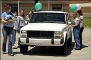 This 1989 Jeep Cherokee will be given away as the grand prize at the Project Graduation 2002 celebration, which is 11 p.m. May 26 to 4 a.m. May 27 at The Granada. The vehicle was displayed Tuesday at Free State High School, and it also will be displayed for seniors at Lawrence High School and Lawrence Alternative High School.