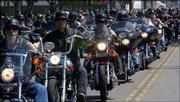 Law enforcement officials are bracing for possible violence at a July 4 rally in Hollister, Calif. They fear that bikers from the Hells Angels and Mongols gangs will continue a feud that left at least three people dead recently in Laughlin, Nev. In the above photo, hundreds of bikers made their way in a procession to the May 4 burial of Stockton, Calif., motorcycle shop owner and Hells Angel member Robert Emmett Tumelty, 50, one of those killed in Laughlin, Nev.