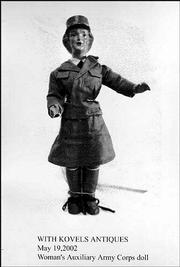 This composition doll depicts a WAAC, or a Women's Auxiliary Army Corps member. It was made in the early 1940s. The 18-inch doll sold last year for $250.
