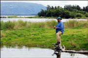 Dave Brzoska casts his line at Brooks Lodge.