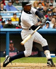 New York's alfonso soriano hits a three-run homer against Minnesota. The Yankees defeated the Twins, 6-2, on Saturday at New York.